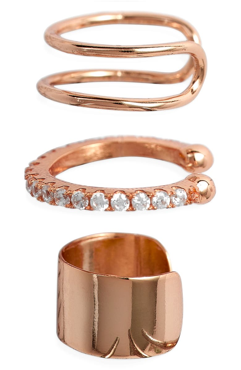 STERLING FOREVER Simple 3-Pack Ear Cuff Set, Main, color, ROSE GOLD