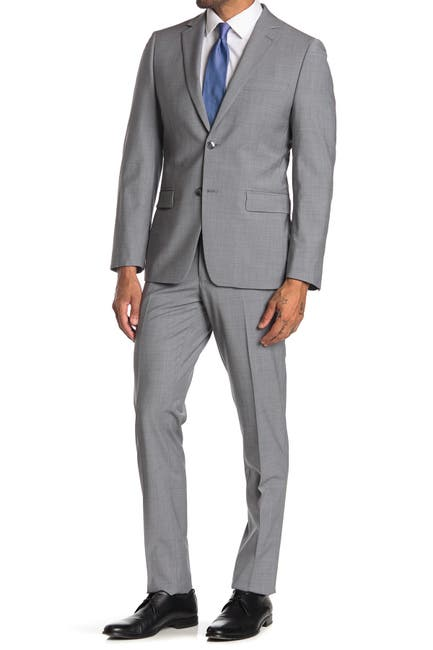 Image of Calvin Klein Grey Sharkskin Wool Blend Two Button Notch Lapel Suit