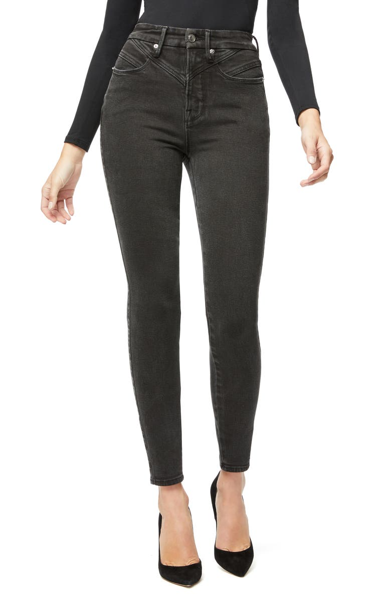 GOOD AMERICAN Good Curve High Waist Front Yoke Detail Ankle Skinny Jeans, Main, color, BLACK063