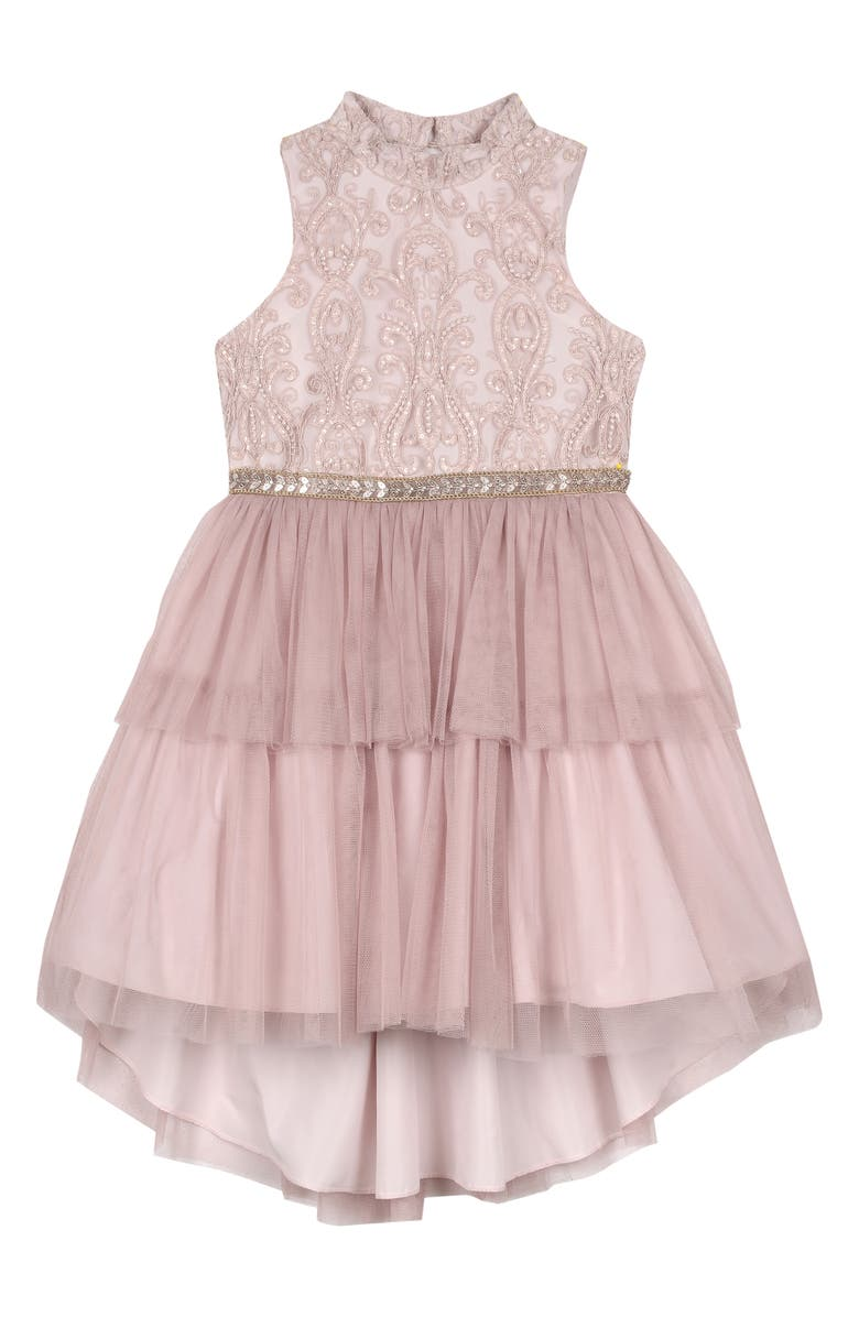 BADGLEY MISCHKA COLLECTION Embroidered Tulle Dress, Main, color, BLUSH