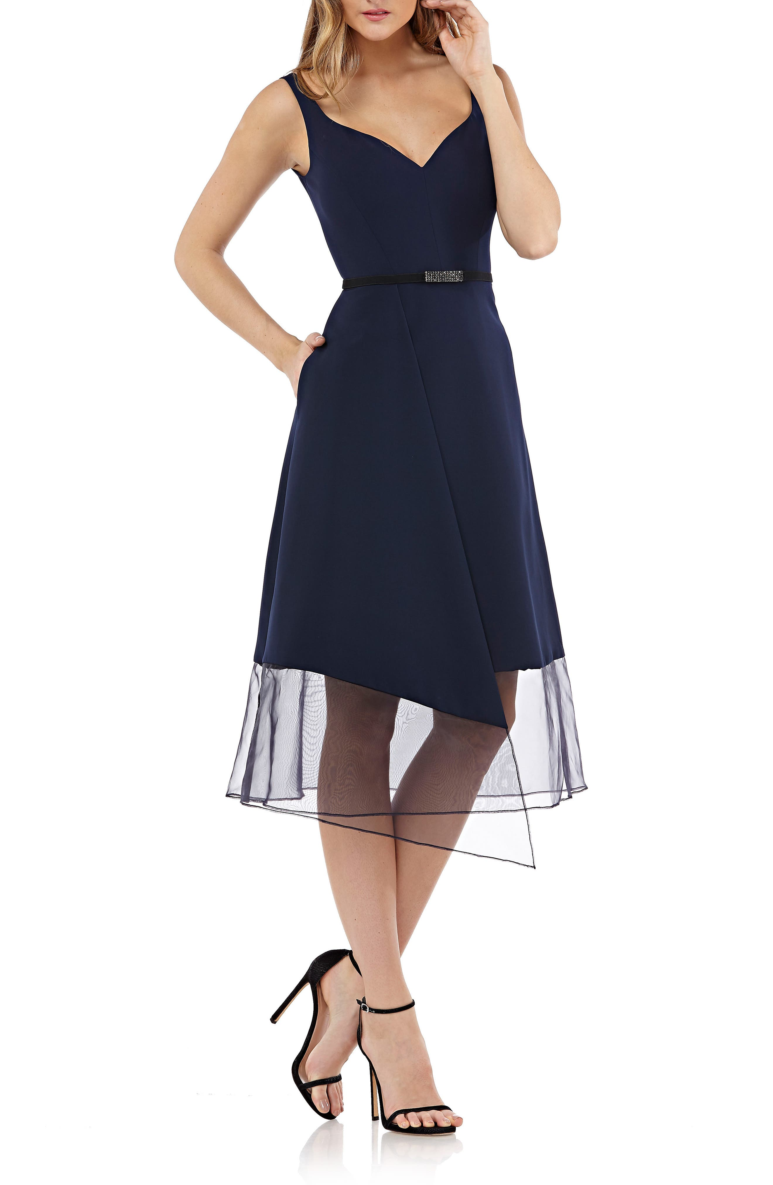 Kay Unger Organza Overlay Tea Length Dress, Blue