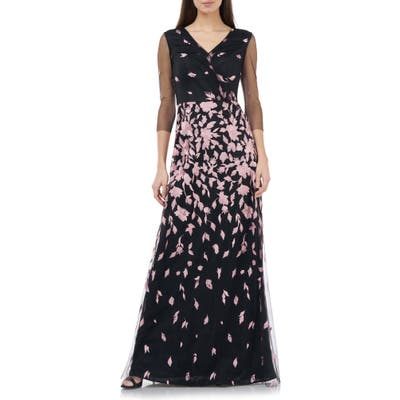 Js Collection Floral Embroidered A-Line Gown, Black