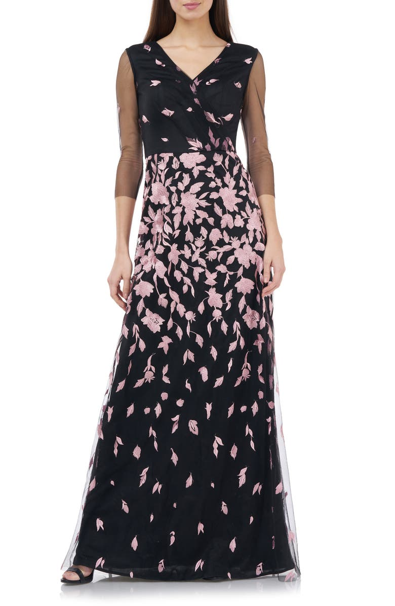 JS COLLECTIONS JS Collection Floral Embroidered A-Line Gown, Main, color, BLUSH BLACK