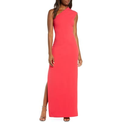 Vince Camuto One-Shoulder Crepe Column Gown, Red