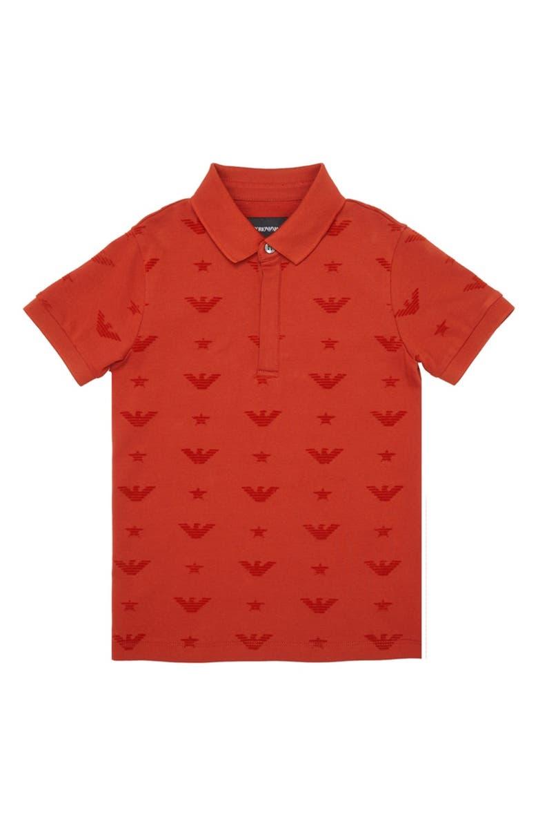 ARMANI JUNIOR Stretch Cotton Allover Logo Polo, Main, color, RED