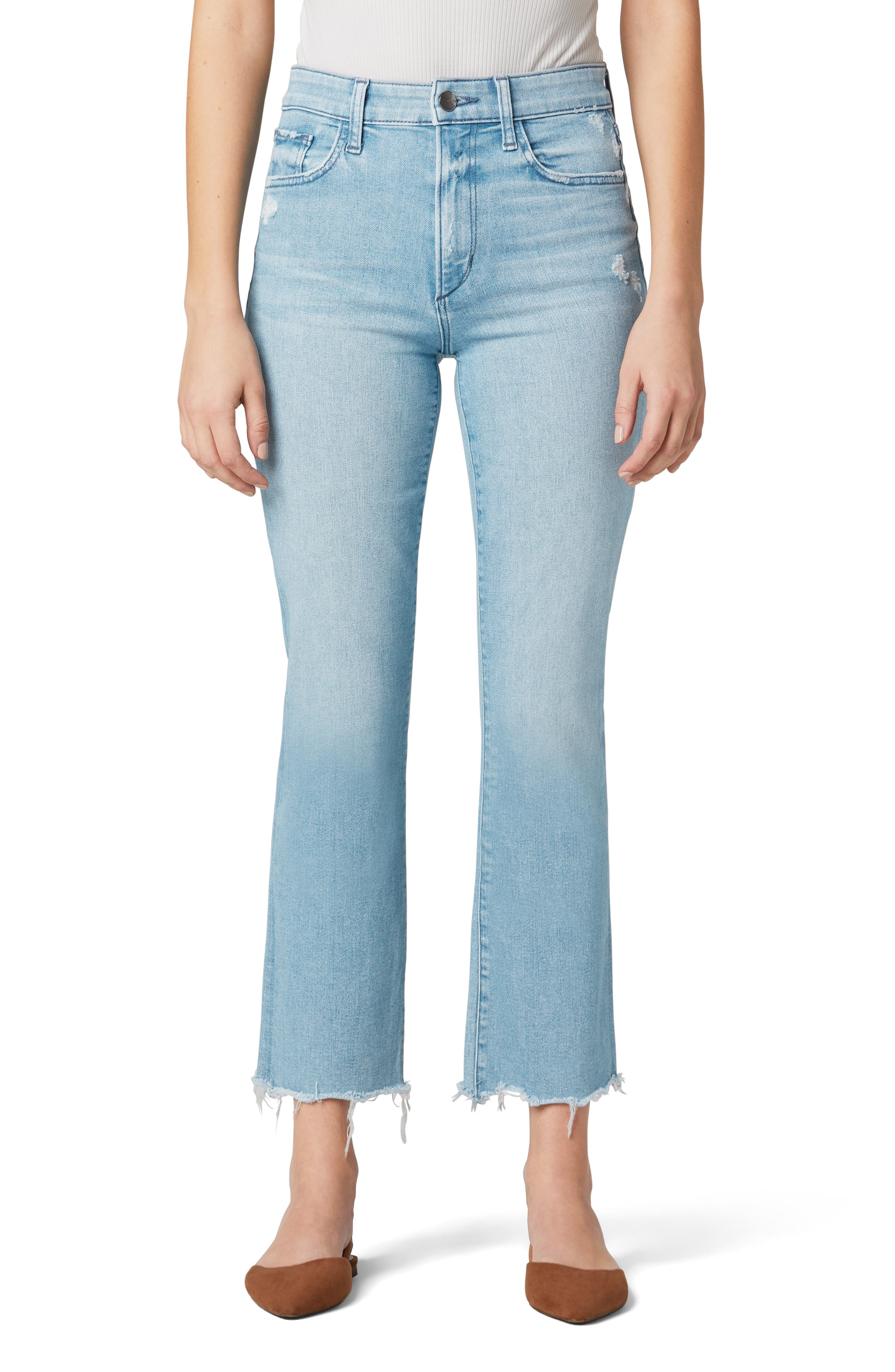 The Callie High Waist Fray Hem Crop Flare Jeans