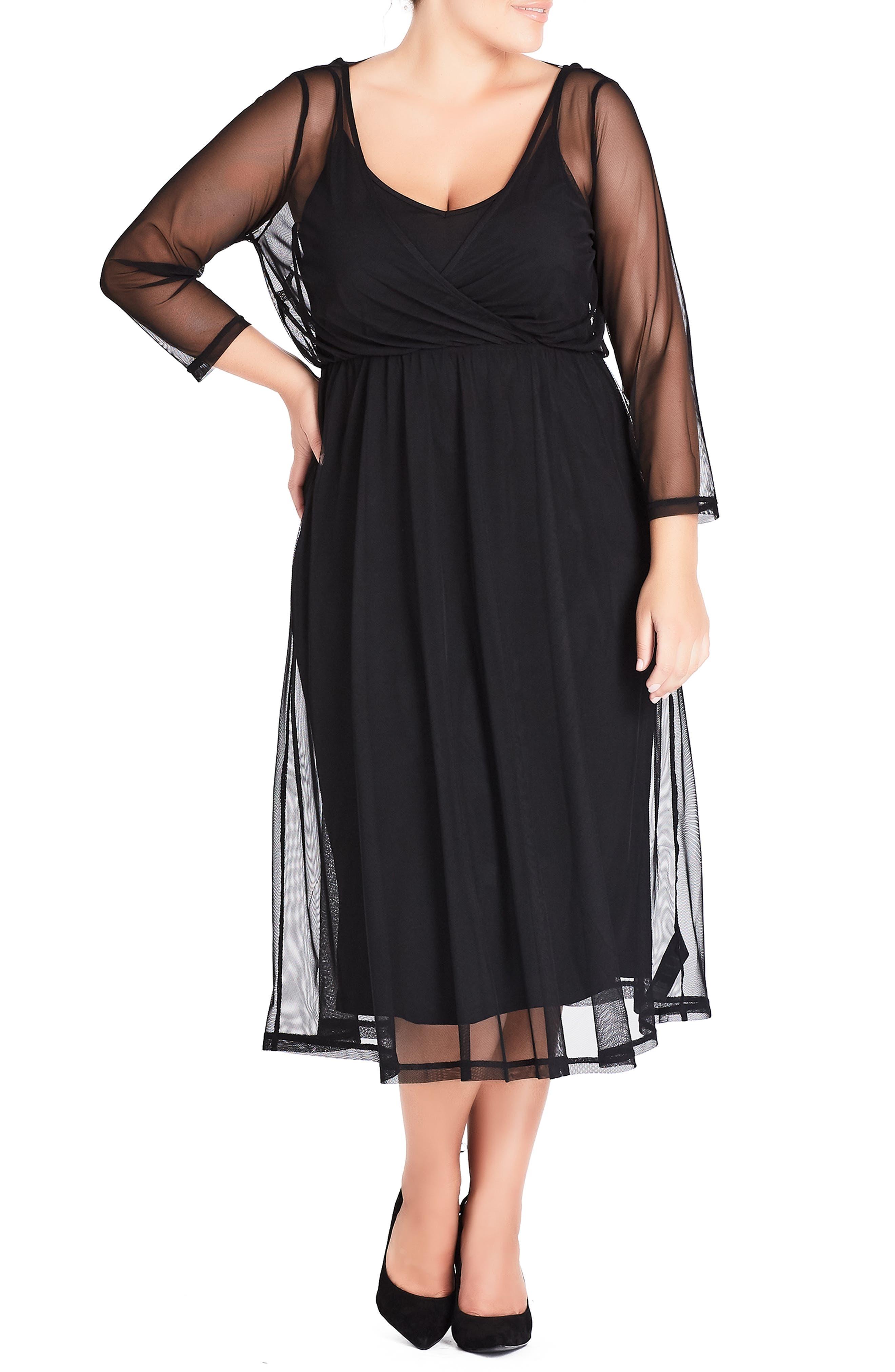 Plus Size City Chic Mesh Overlay Dress