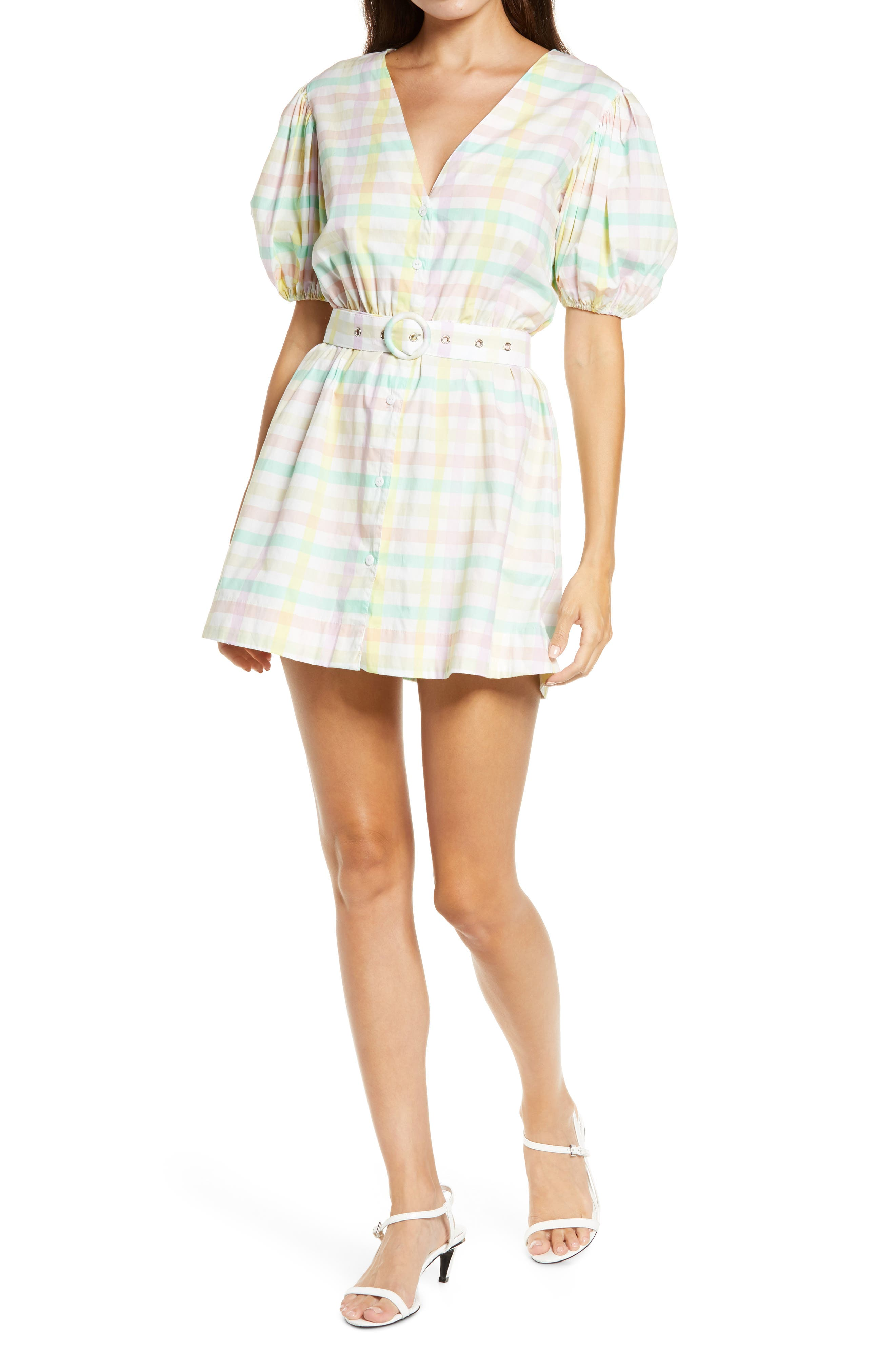 S/W/F Pastel Gingham Belted Puff Sleeve Minidress   Nordstrom
