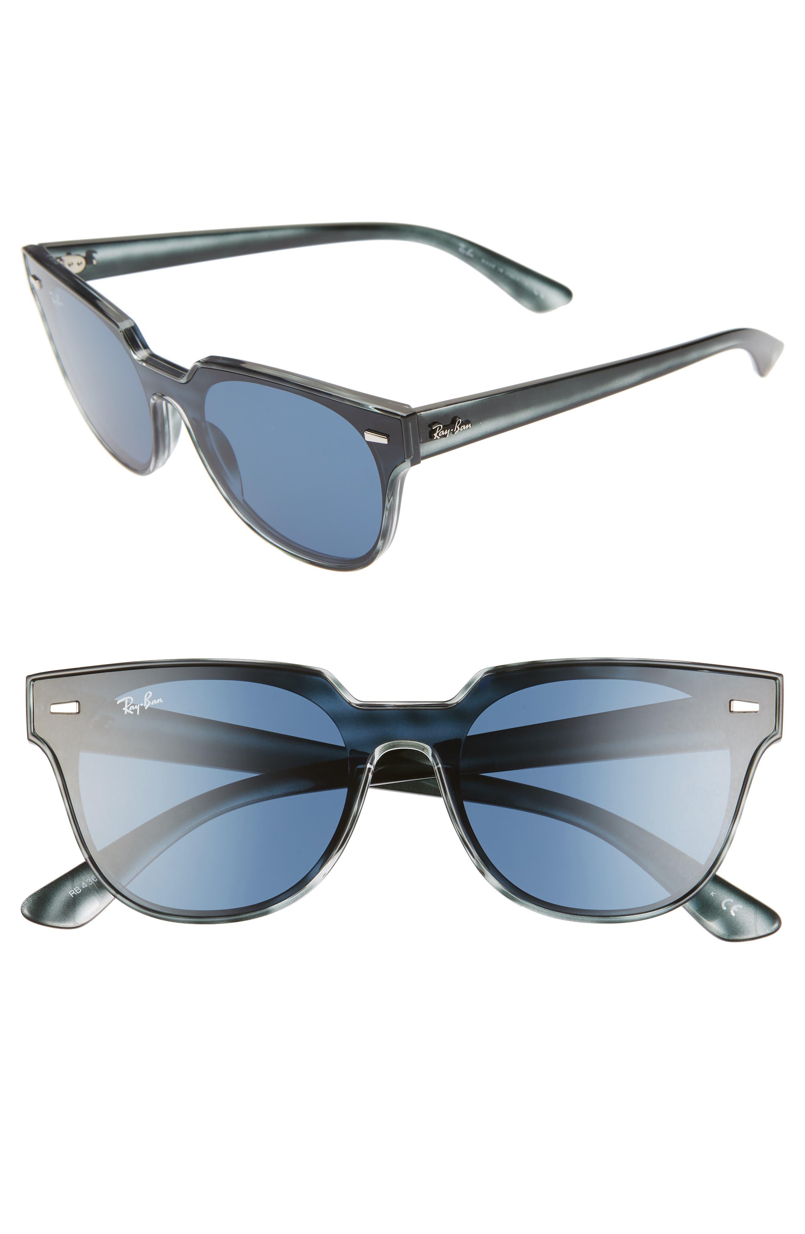 Ray-Ban 51Mm Square Sunglasses - Blue Havana/ Blue Solid