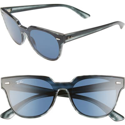 Ray-Ban 51Mm Square Sunglasses - Blue Havana/ Blue Solid