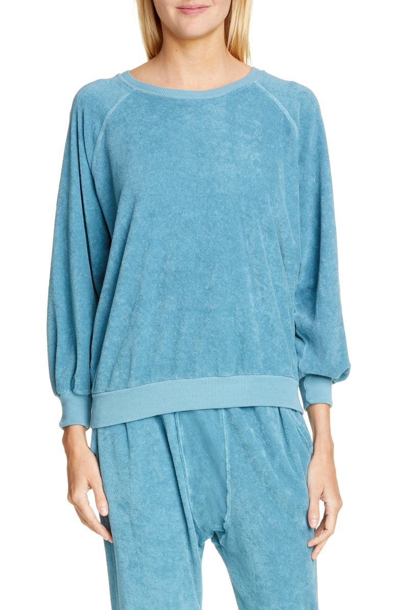 THE GREAT. The Micro Terry Bubble Sweatshirt, Main, color, TURQUOISE