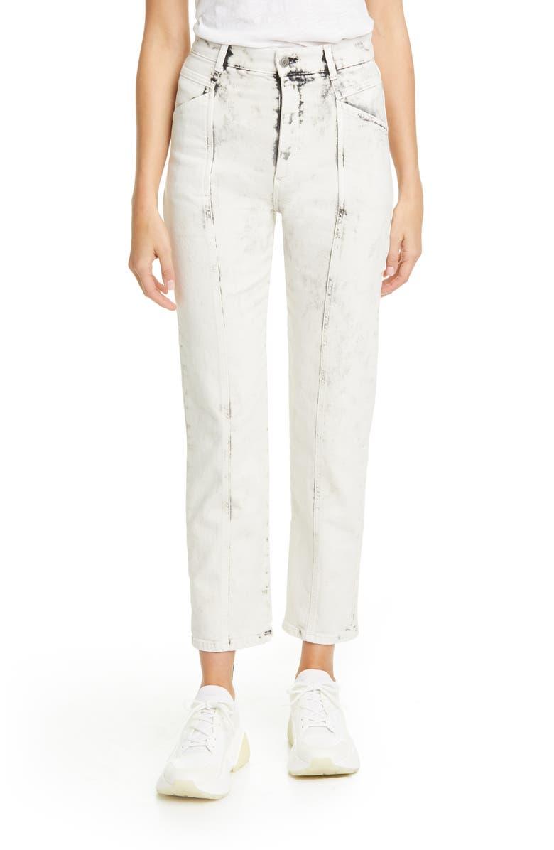STELLA MCCARTNEY Galaxi Acid Wash Ankle Jeans, Main, color, 100