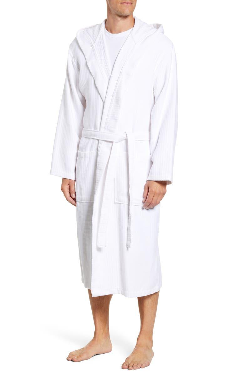 DANIEL BUCHLER Basket Weave Hooded Cotton Terry Robe, Main, color, WHITE