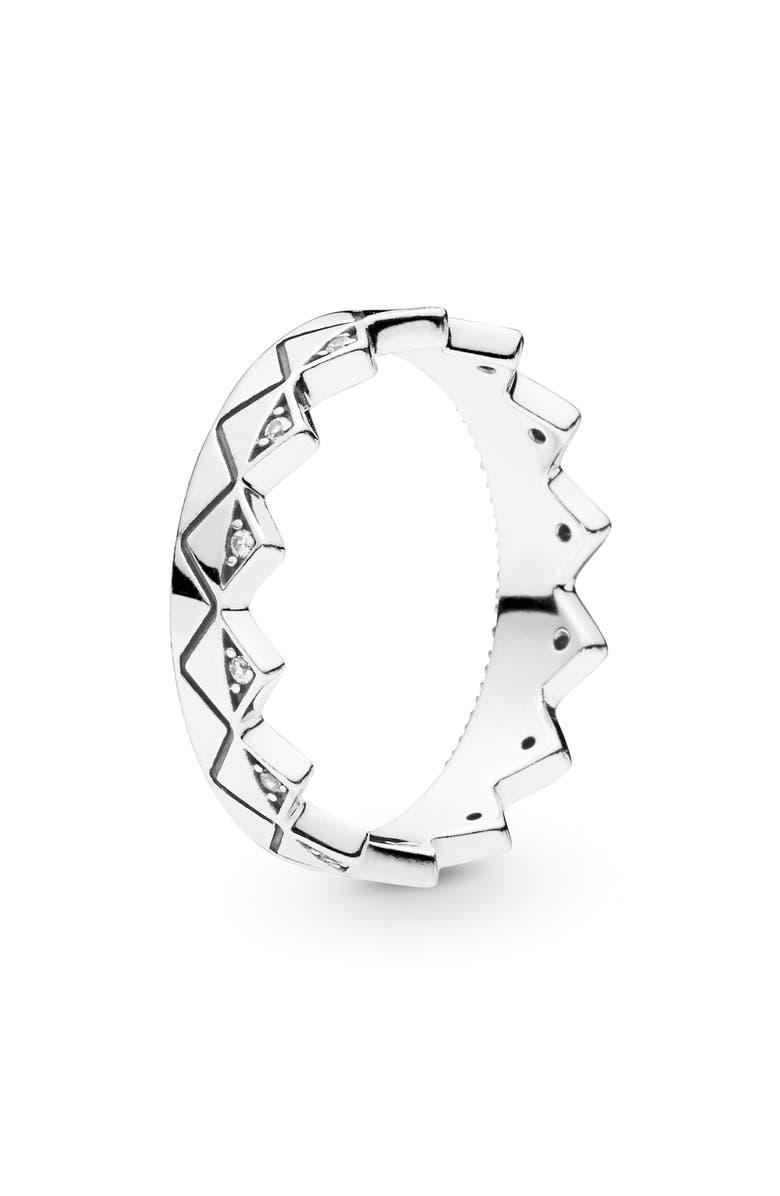 PANDORA Crown Stacking Ring, Main, color, SILVER