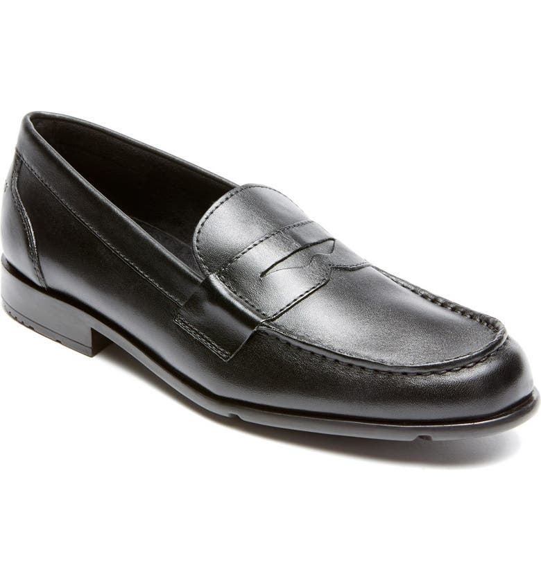 ROCKPORT Leather Penny Loafer, Main, color, BLACK