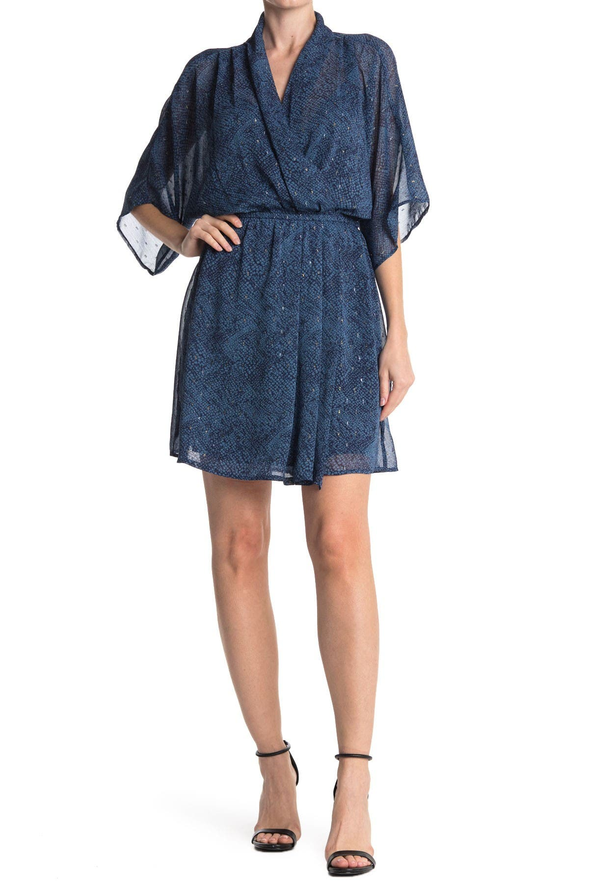 Image of Love Stitch Short Sleeve V-Neck Elastic Waist Dress