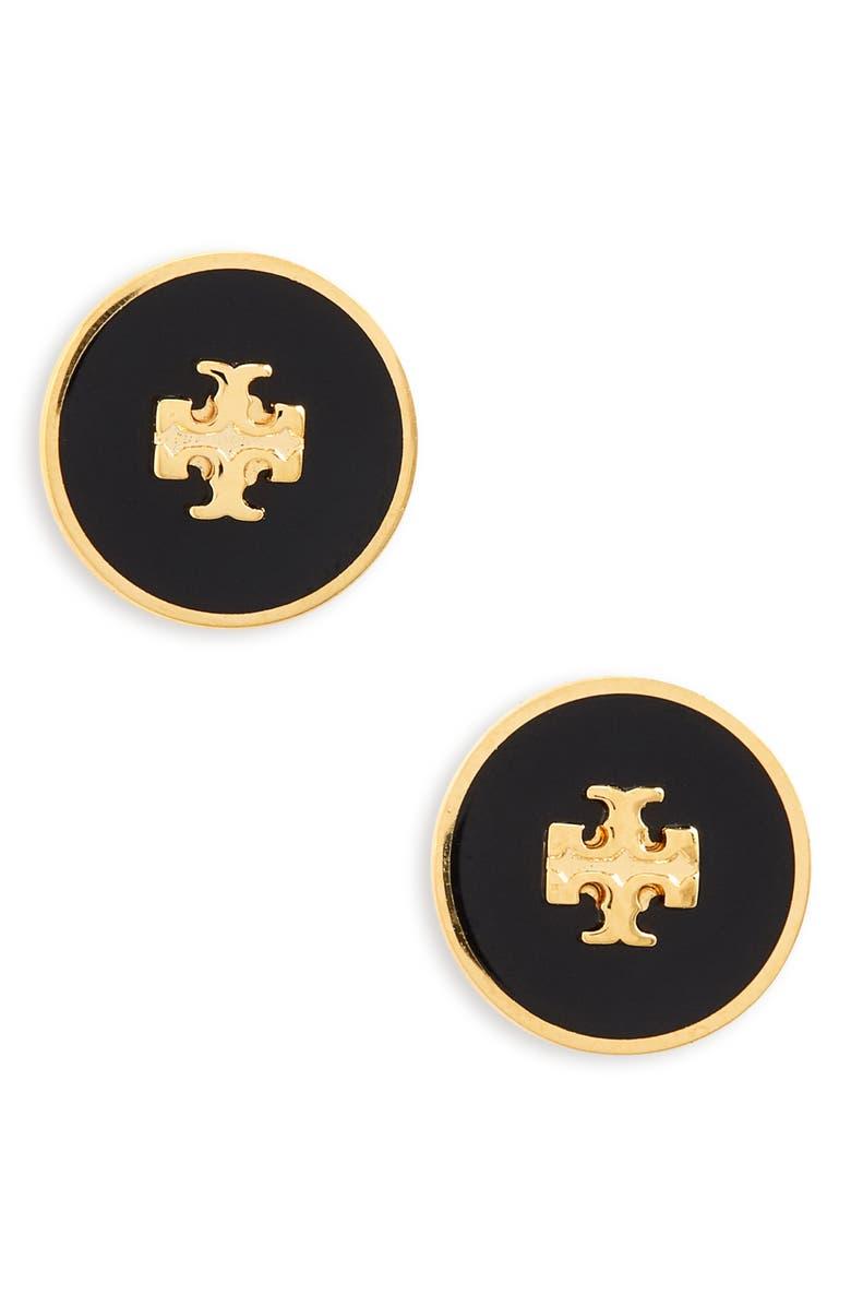 TORY BURCH Kira Enamel Circle Stud Earrings, Main, color, TORY GOLD / BLACK