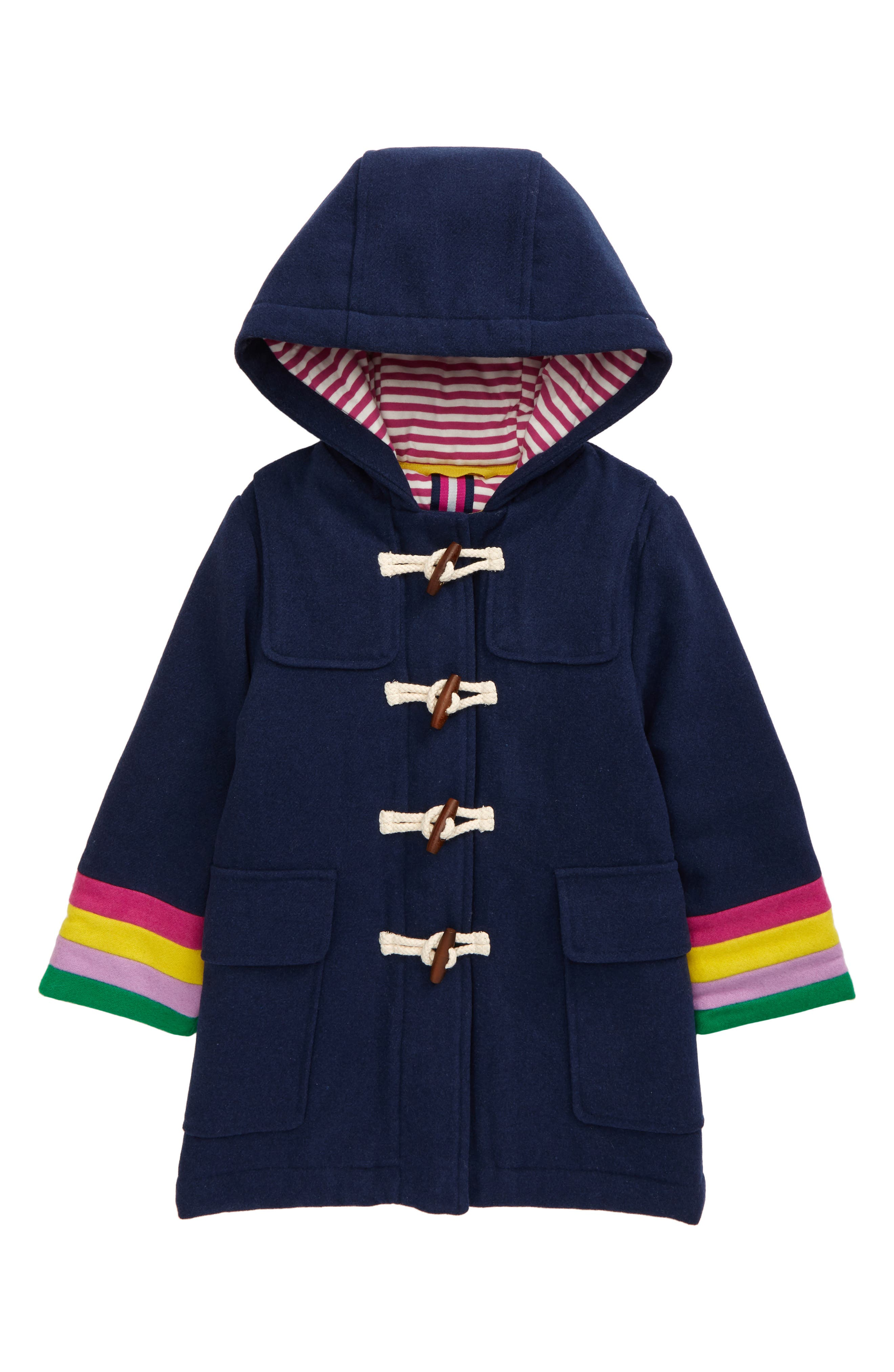 Charming rainbow stripes brighten the sleeves of a warm and cozy coat topped with a roomy hood and finished with toggle closures at the front. Style Name: Mini Boden Kids\\\' Toggle Hooded Coat (Toddler, Little Girl & Big Girl). Style Number: 6116166. Available in stores.