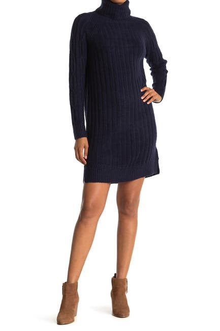 Image of Cloth By Design Ribbed Knit Turtleneck Sweater Dress