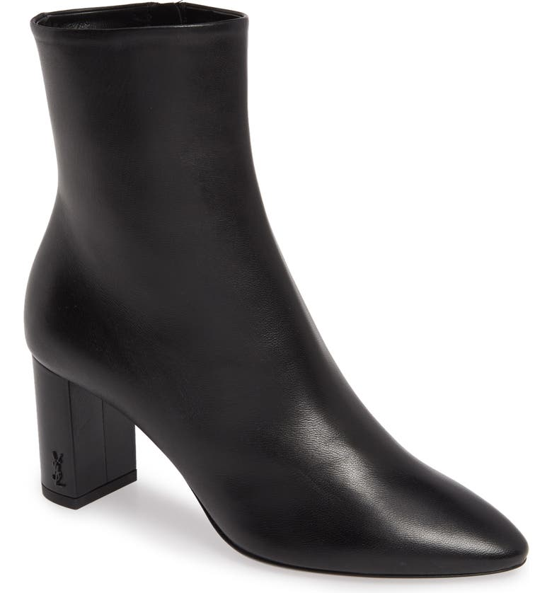 SAINT LAURENT Lou Bootie, Main, color, BLACK LEATHER