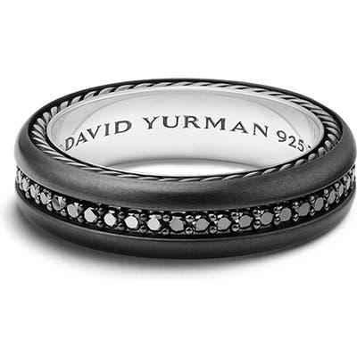 David Yurman Streamline Titanium & Black Diamond Pave Band Ring