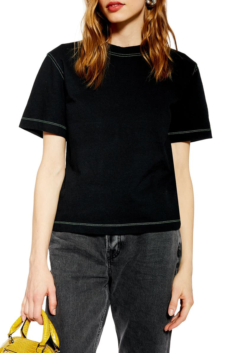 TOPSHOP Contrast Stitch Tee, Main, color, 001