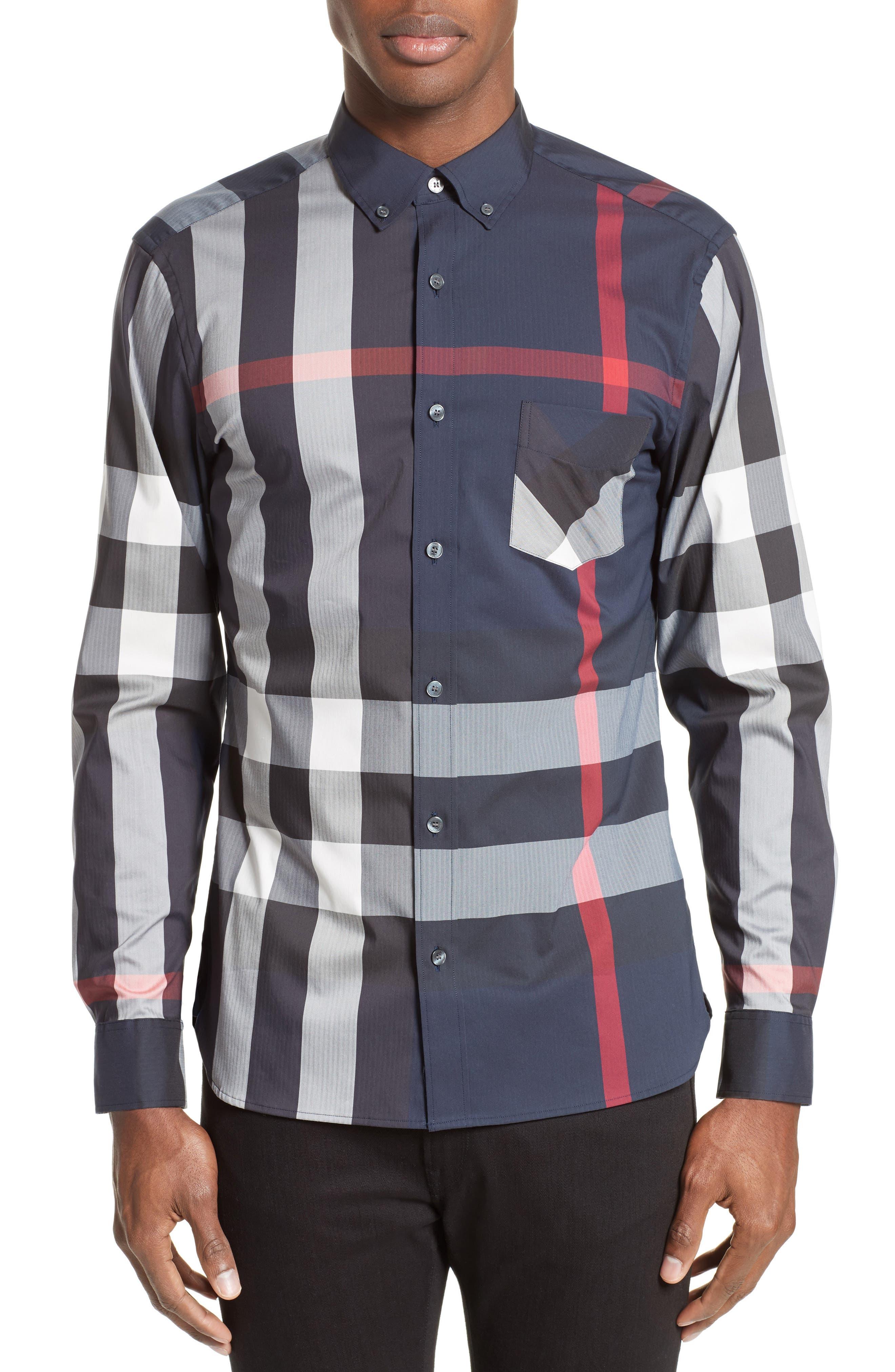 ,                             Thornaby Slim Fit Plaid Sport Shirt,                             Main thumbnail 23, color,                             410