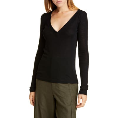 Vince Deep V-Neck Long Sleeve Wool Sweater, Black