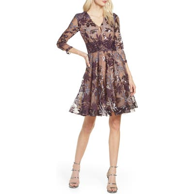 Bronx And Banco Purple Fiora Sequin Embroidered Mesh Party Dress, Purple