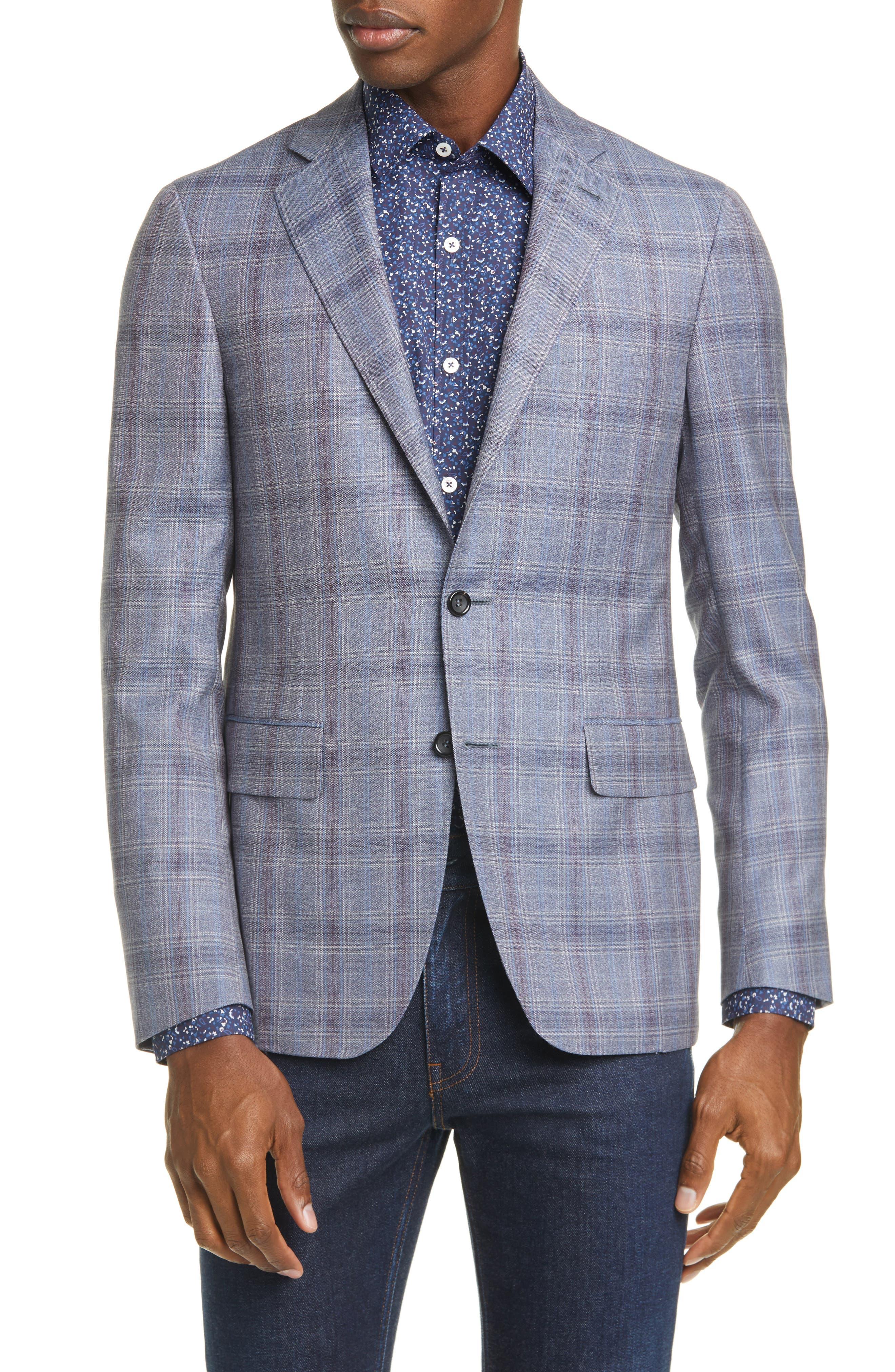 Image of Canali Kei Trim Fit Plaid Wool Sport Coat