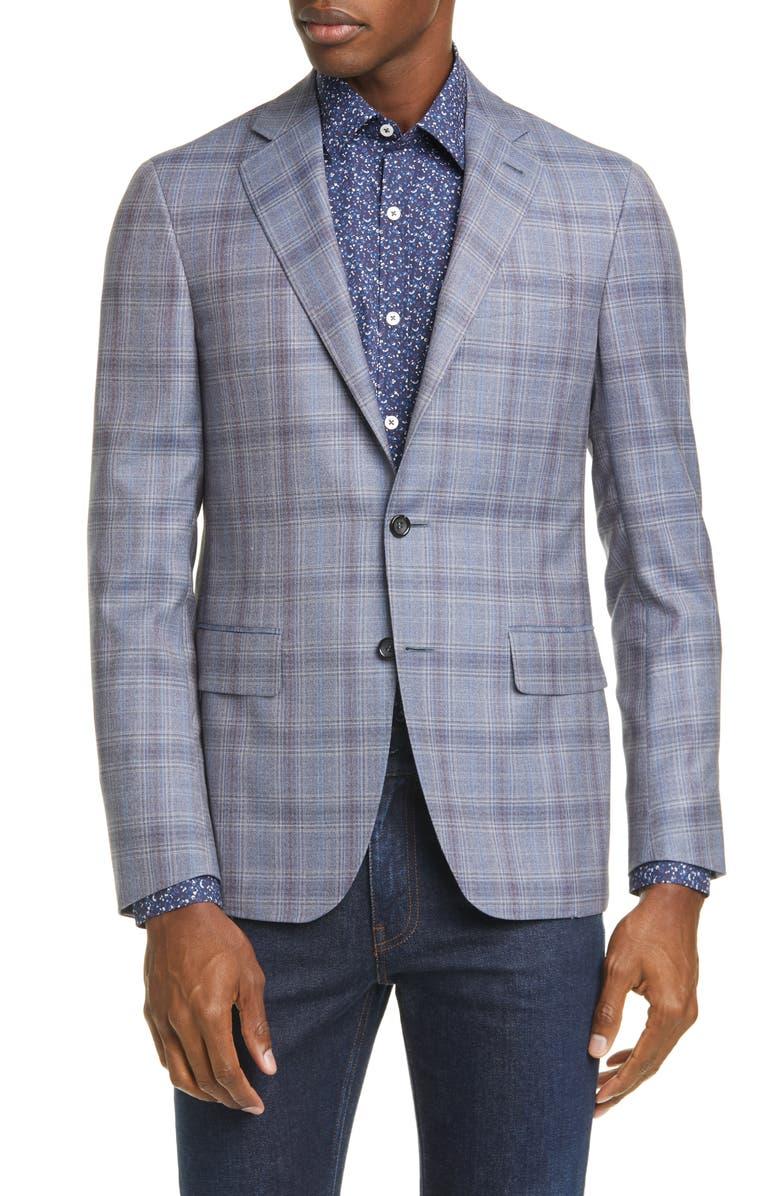 CANALI Kei Trim Fit Plaid Wool Sport Coat, Main, color, 020