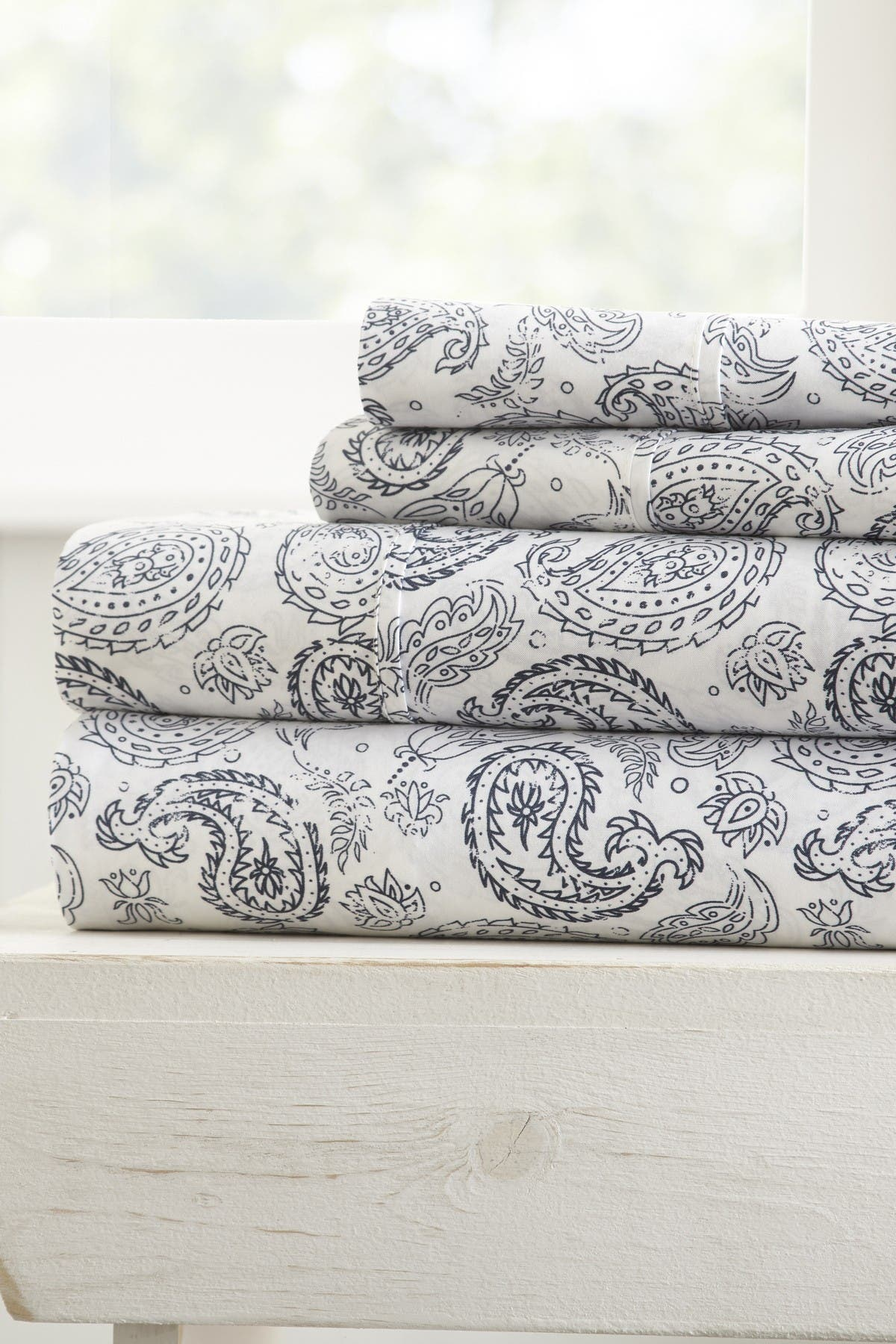 Image of IENJOY HOME The Home Spun Premium Ultra Soft Coarse Paisley Pattern 4-Piece King Bed Sheet Set - Navy