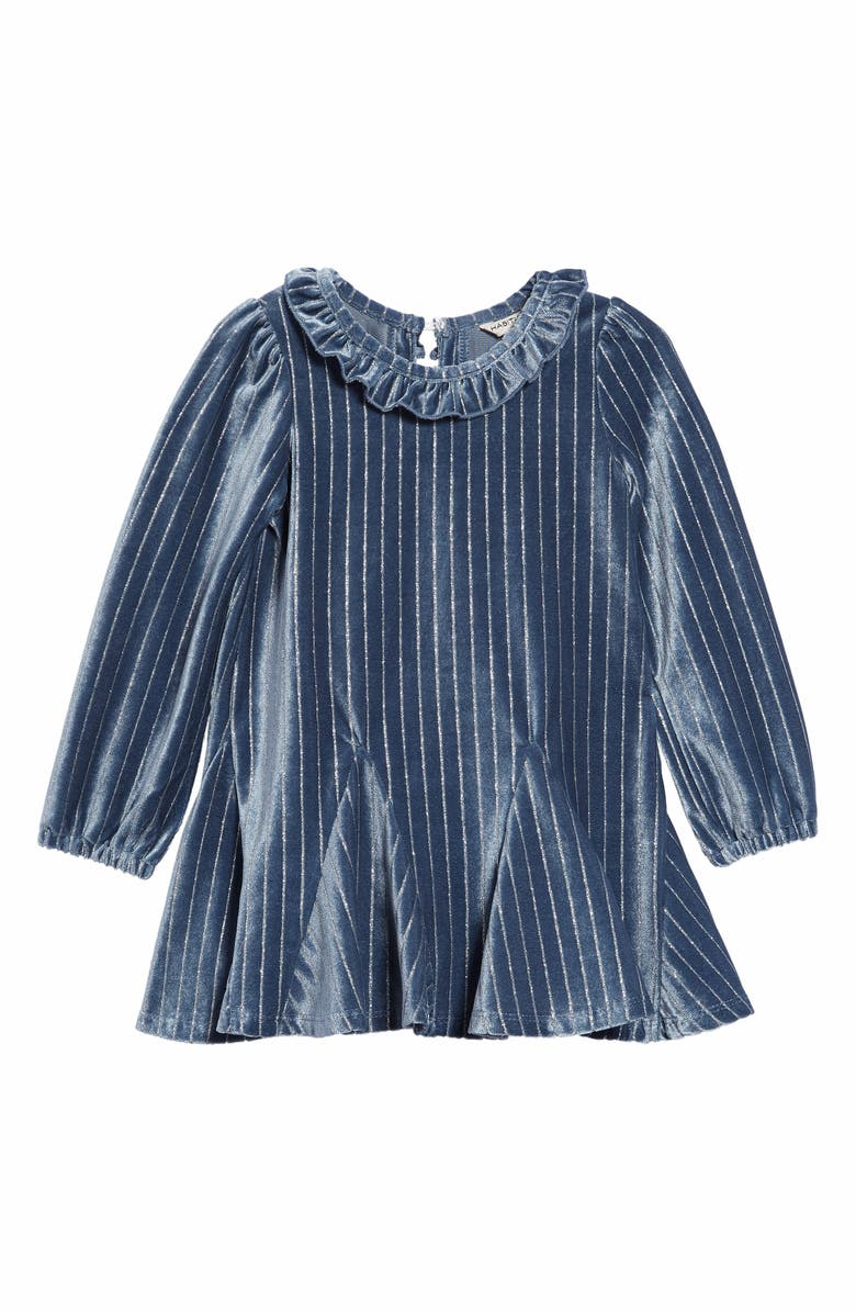 HABITUAL Saylor Stripe Velour Dress, Main, color, LIGHT GREY