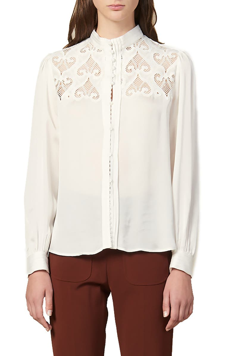 SANDRO Alina Lace Yoke Blouse, Main, color, ECRU