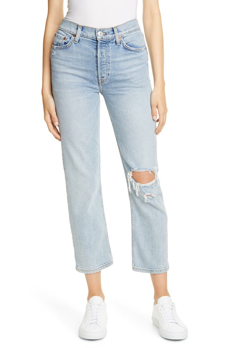 RE/DONE Originals High Waist Stovepipe Jeans, Main, color, LIVED IN LIGHT