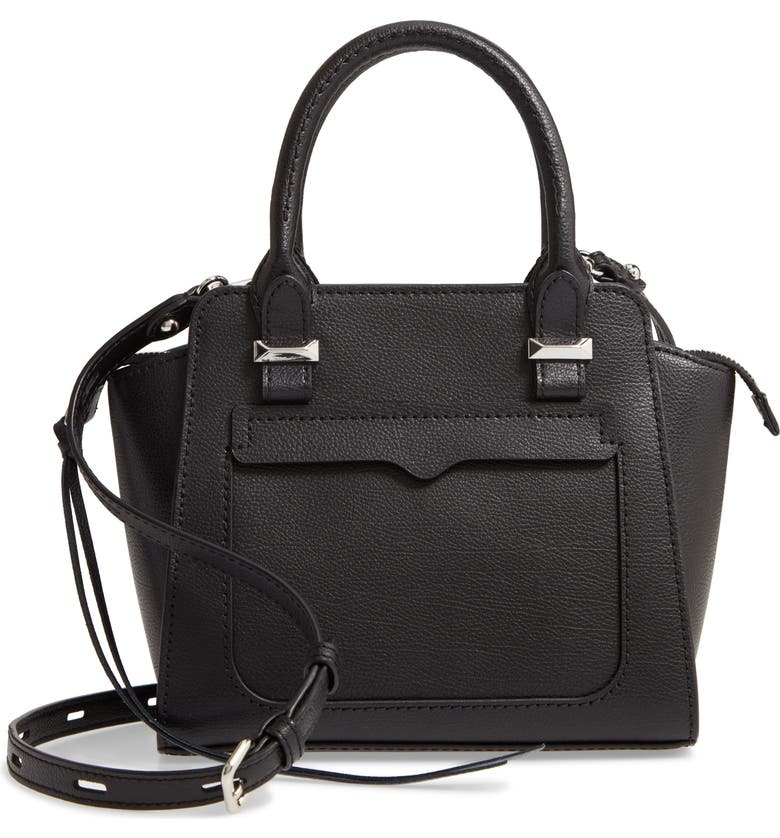 REBECCA MINKOFF Mini Avery Leather Tote, Main, color, BLACK/ SILVER