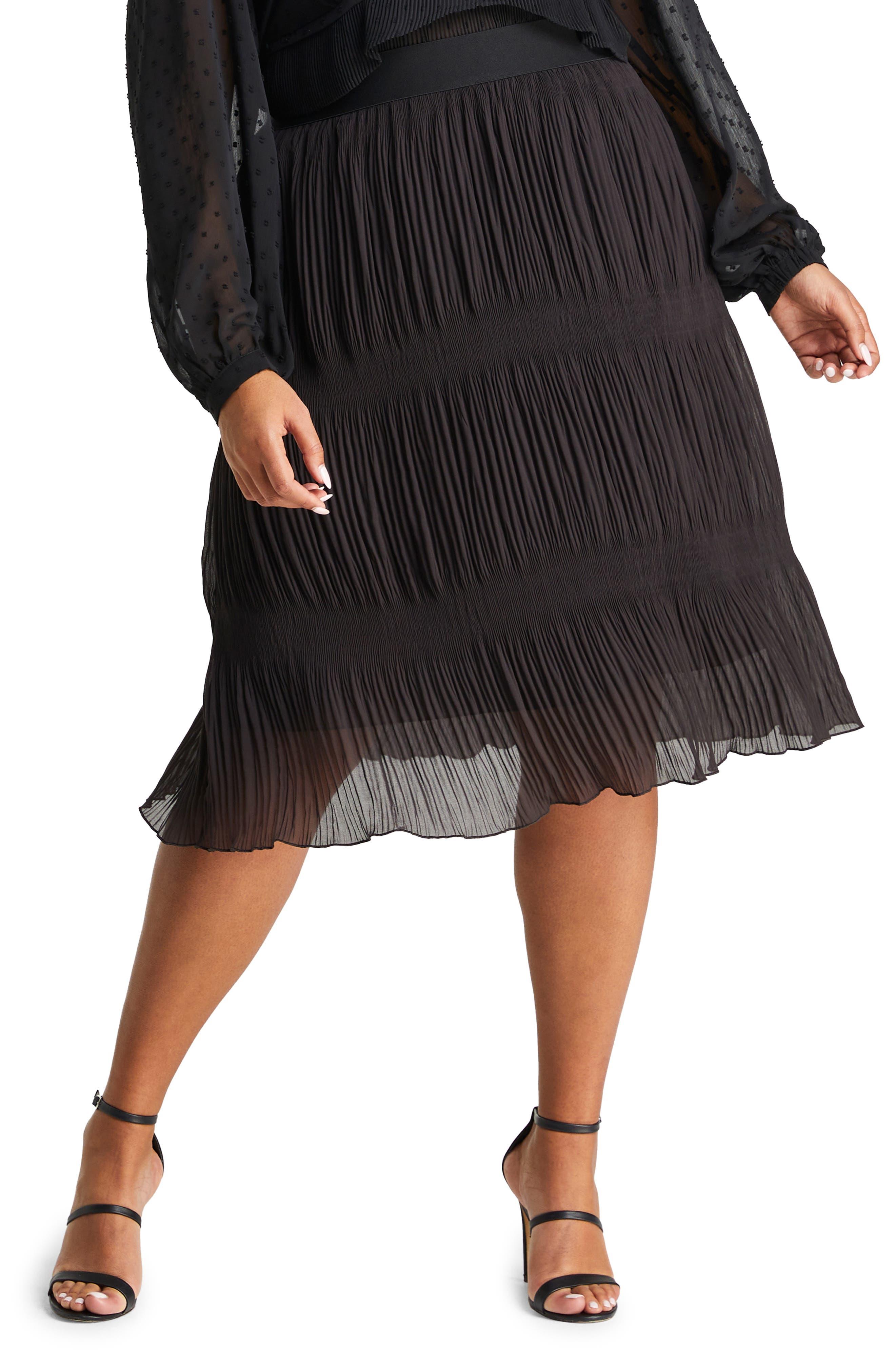 Ellen Plisse Midi Skirt
