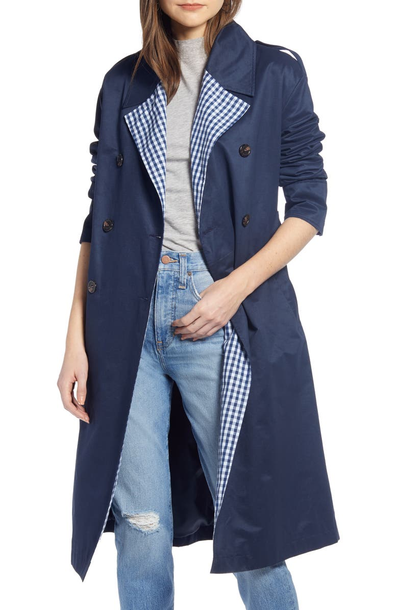 SOMETHING NAVY Contrast Trim Trench Coat, Main, color, 401