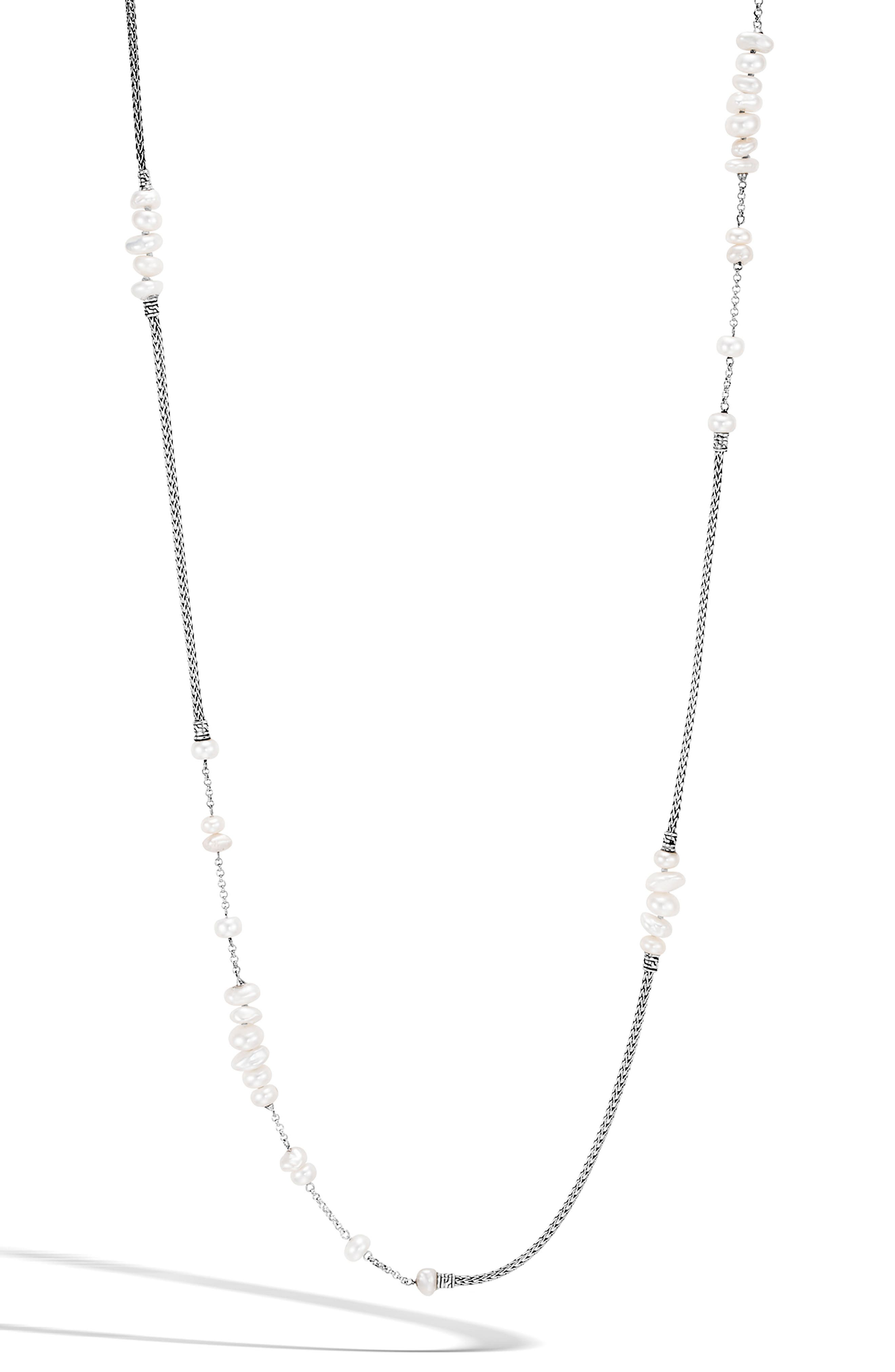 Classic Chain Pearl Station Necklace, Main, color, SILVER/ PEARL