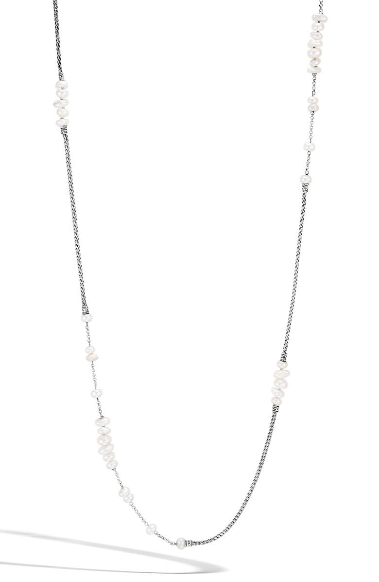 JOHN HARDY Classic Chain Pearl Station Necklace, Main, color, 100