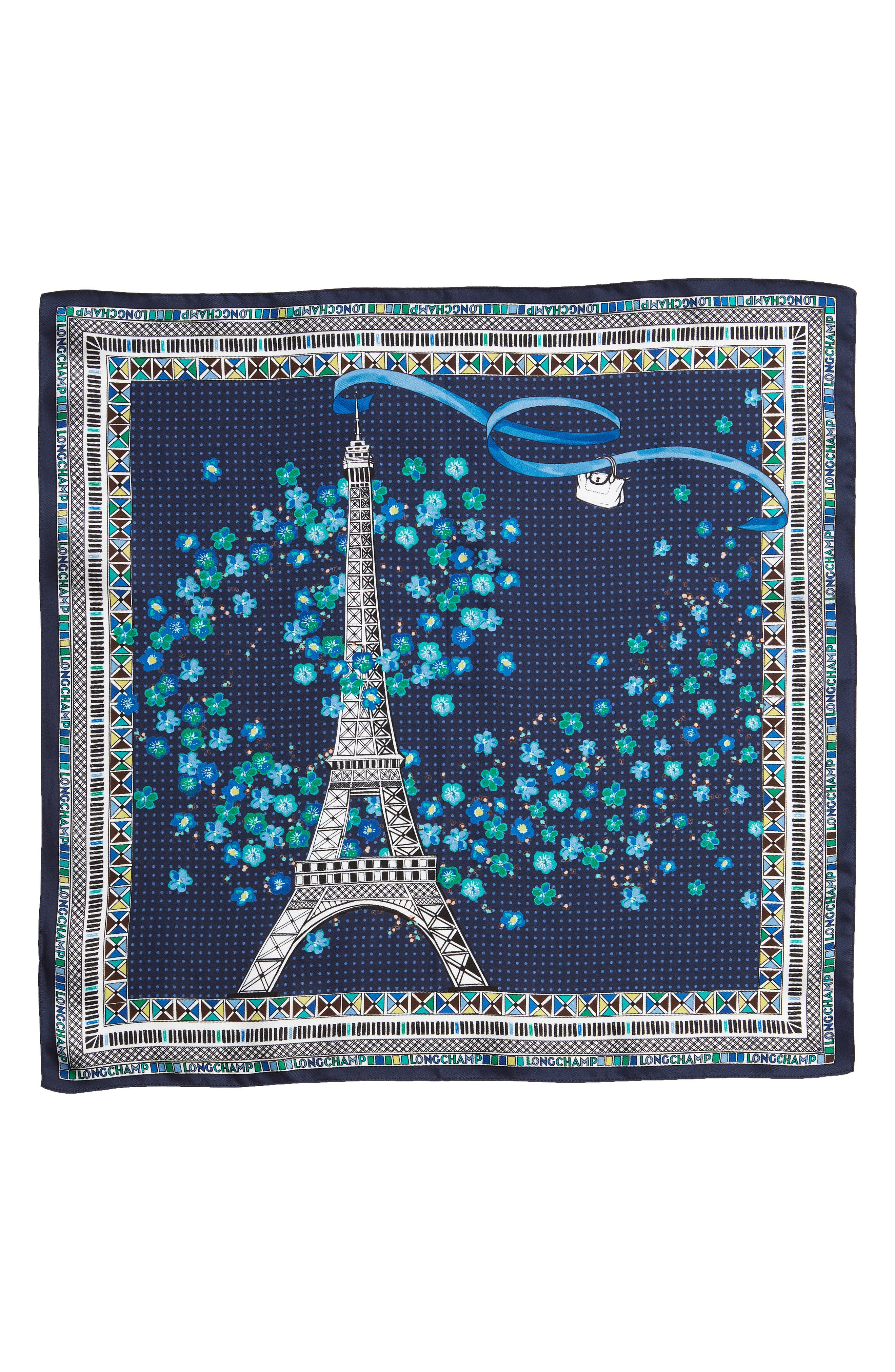 ,                             Tour Eiffel Silk Scarf,                             Alternate thumbnail 3, color,                             NAVY