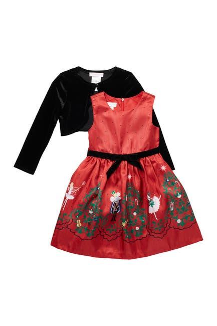Image of GERSON & GERSON Nutcracker Border Print Dress & Velvet Bolero Jacket Set