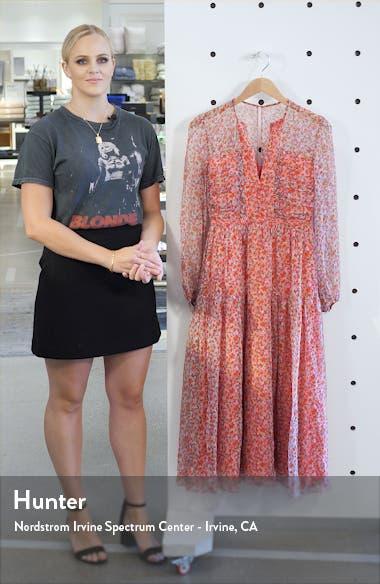 Yasmeen Floral Long Sleeve Silk Midi Dress, sales video thumbnail