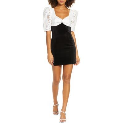 Ali & Jay Ali Floral & Velvet Minidress, Black