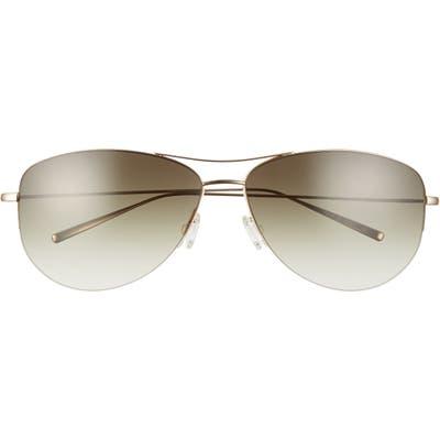 Oliver Peoples Strummer 6m Oversize Gradient Aviator Sunglasses - Gold/ Green