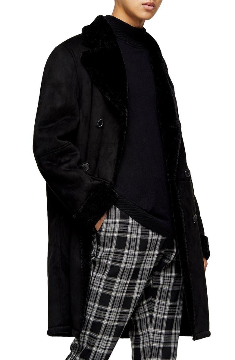 TOPMAN Classic Fit Longline Faux Shearling Coat, Main, color, 001
