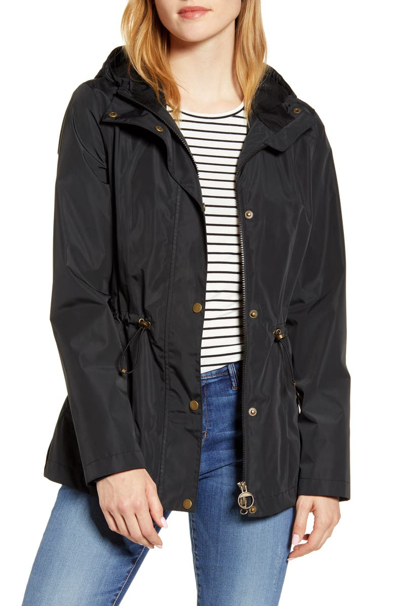 BARBOUR Vault Waterproof Hooded Raincoat, Main, color, 001