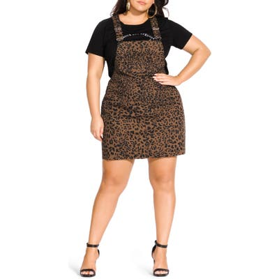Plus Size City Chic Jungle Frenzy Jumper Dress, Brown