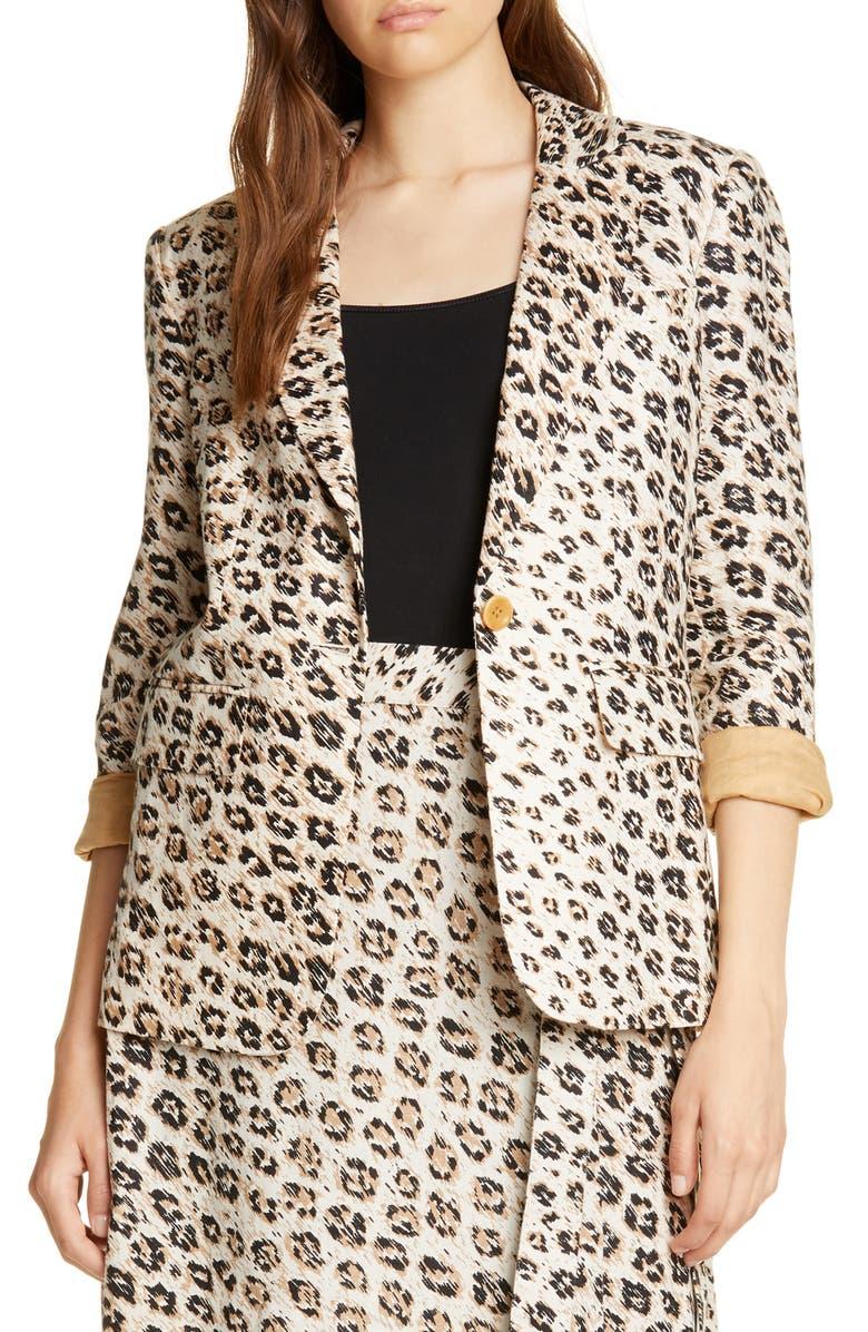 JOIE Anilah Leopard Print Linen Blazer, Main, color, CAPPUCCINO