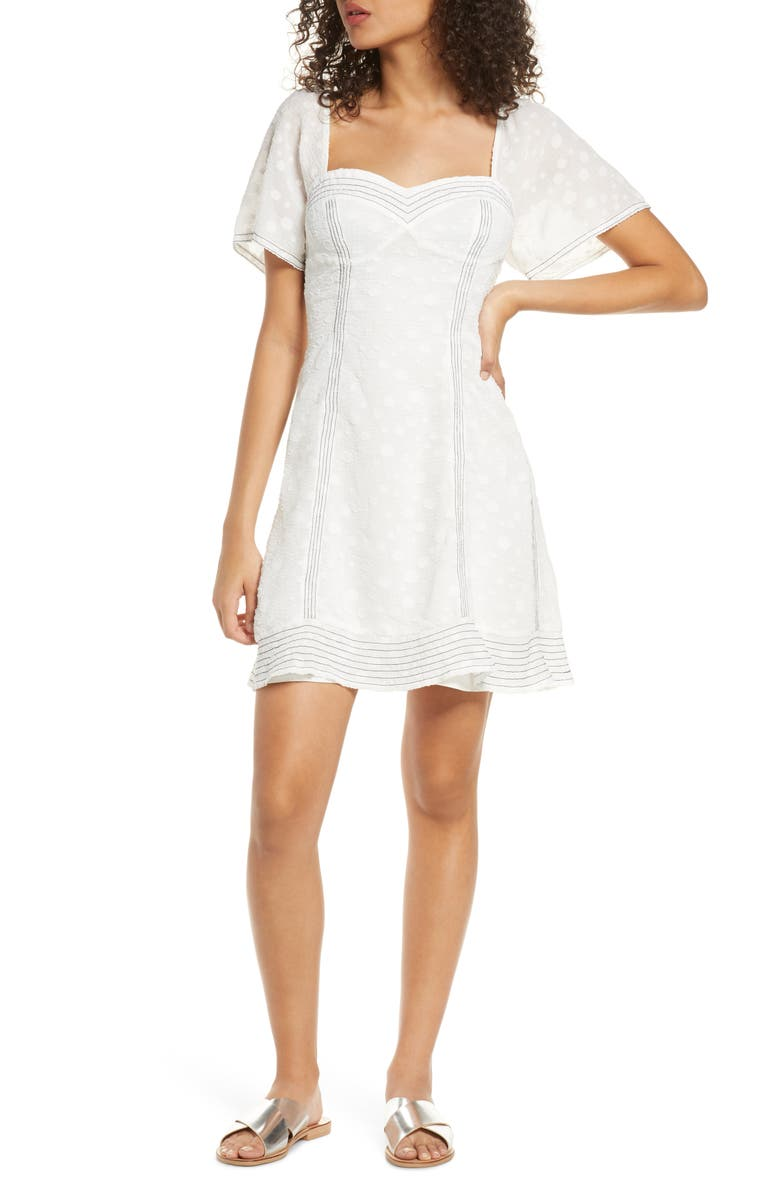 FOXIEDOX Blanche Fit & Flare Minidress, Main, color, MARSHMALLOW